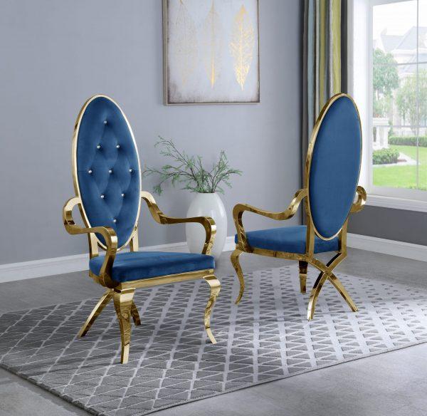Navy Blue Velvet Tufted Arm Chair in Stainless Steel Gold - Set of 2|
