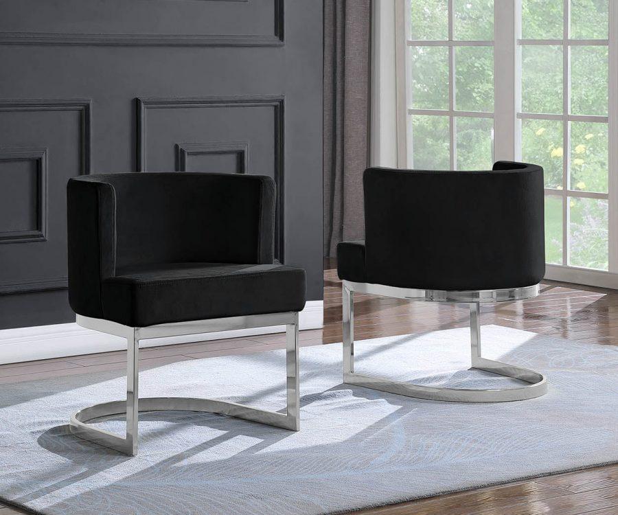 |Black Velvet Side Chair with Silver|Chrome Base - Single