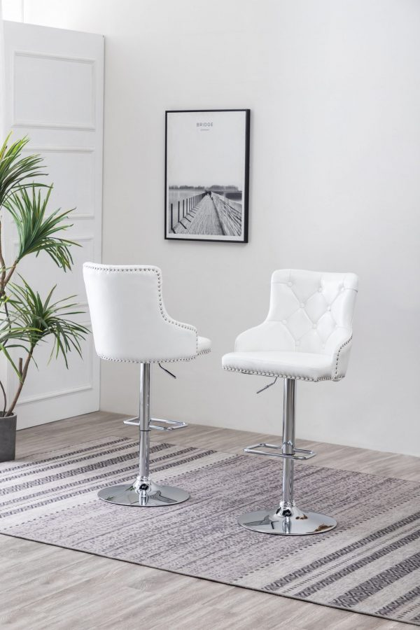Faux Leather Adjustable Bar Stool in White