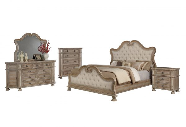 5PC Bedroom Set: 1 Panel Bed with Tufted Buttons