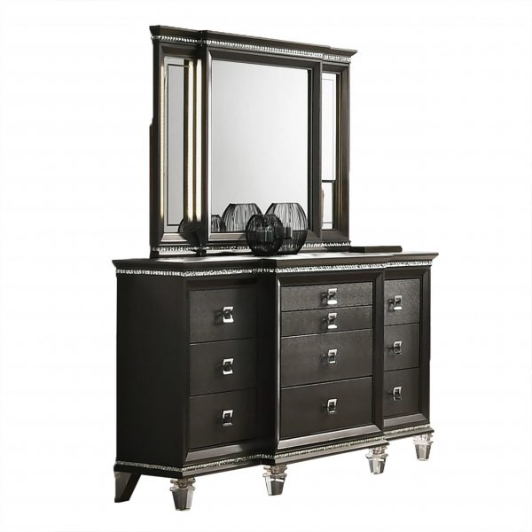 Dresser Mirror Set with Double LED lit Mirrors