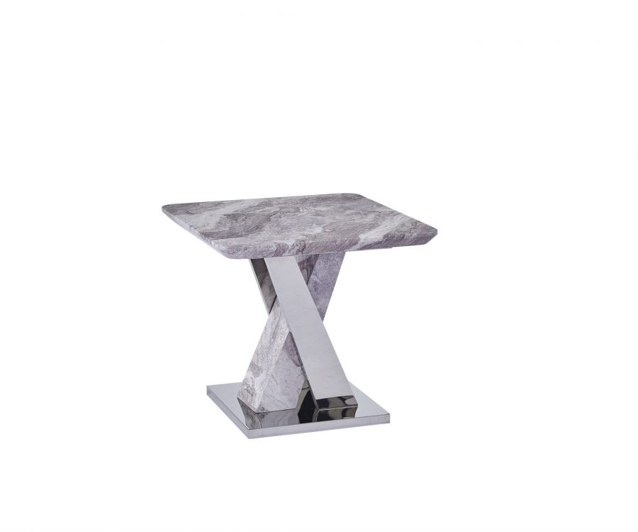 White Faux Marble End Table w/Stainless Steel X-Base