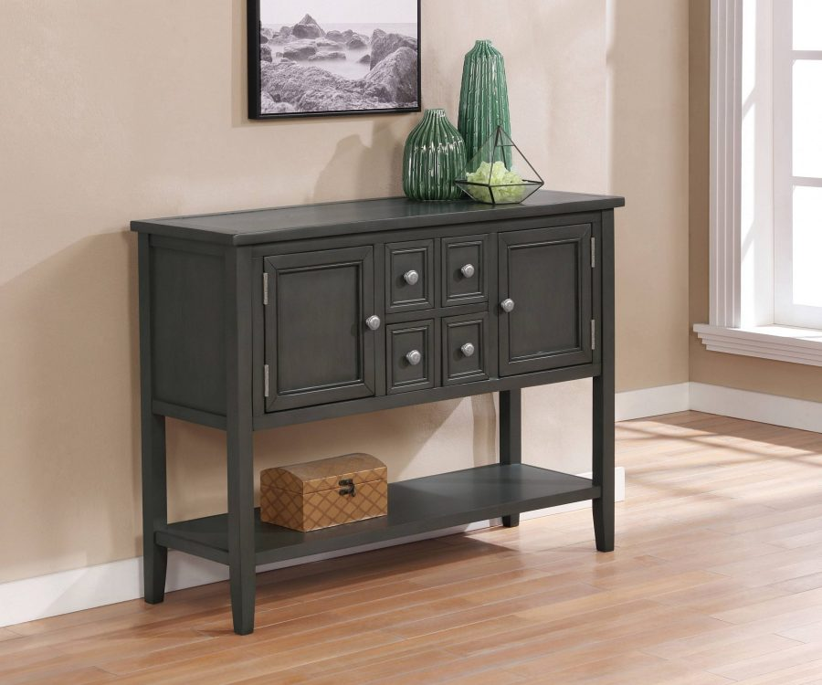Wood Server with 4 Drawers|2 Cabinets
