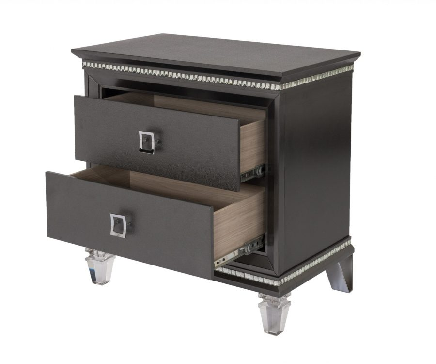 ||Nightstand with 2 Drawers and Acrylic Legs