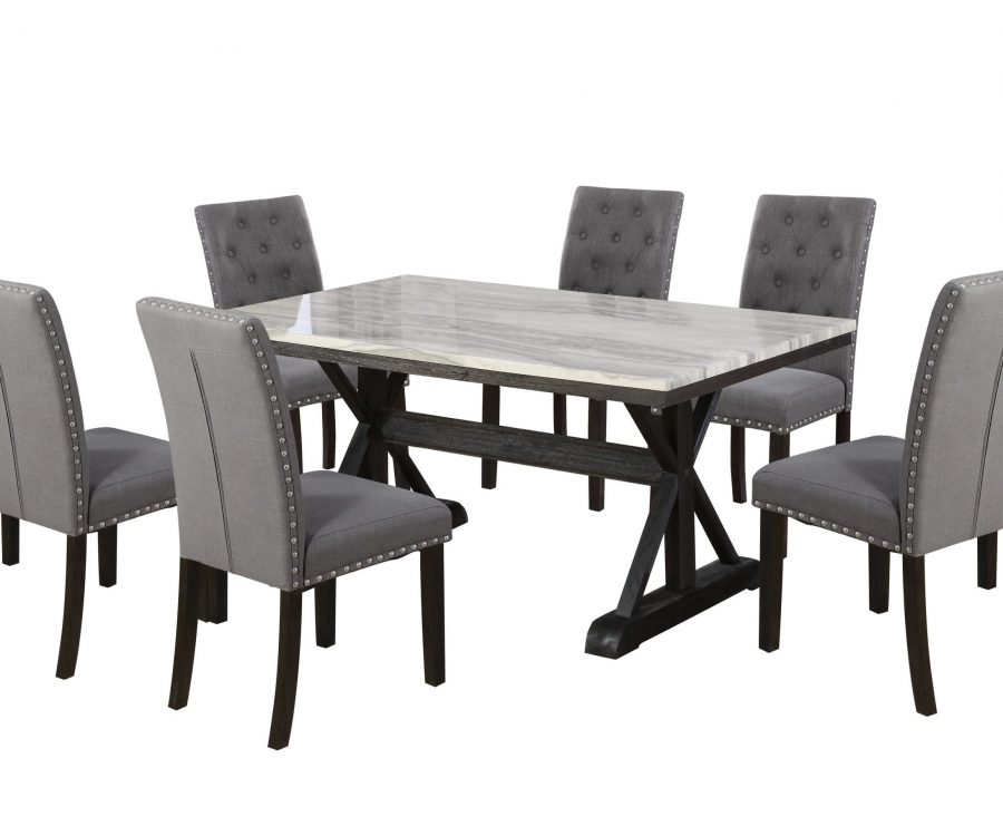 Dining Table w/ Faux Marble Top and 6 Upholstered Side Chairs 4 Upholstered Side Chairs 
