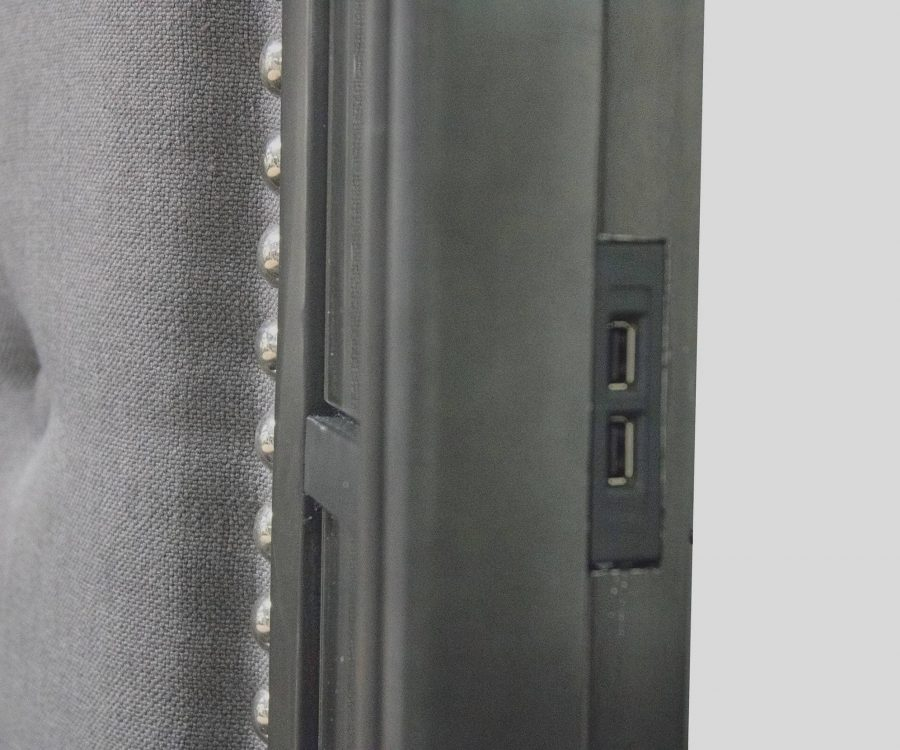 |Panel Bed With Tufted Buttons and 2 USB Slots