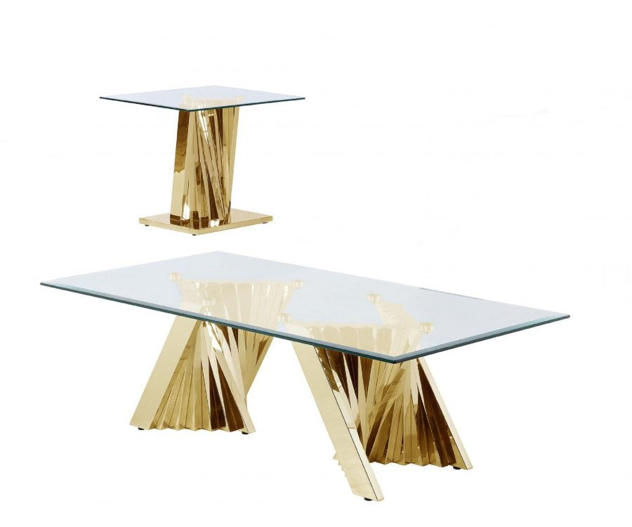 Glass Coffee Table Sets: Coffee Table and End Table with Stainless Steel Gold Base