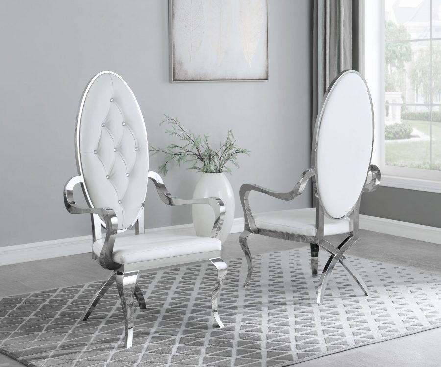 White Faux Leather Arm Chair **Set of 2**