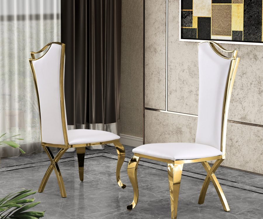 White Faux Leather Side Chair **Set of 2**