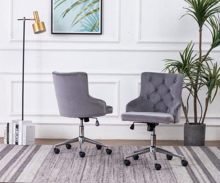 Tufted Velvet Upholstered Adjustable Side Chair in Dark Grey - Single Only