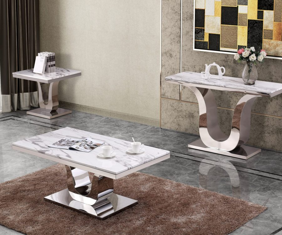 Classic 3pc Set: Marble Top Coffee Table End table