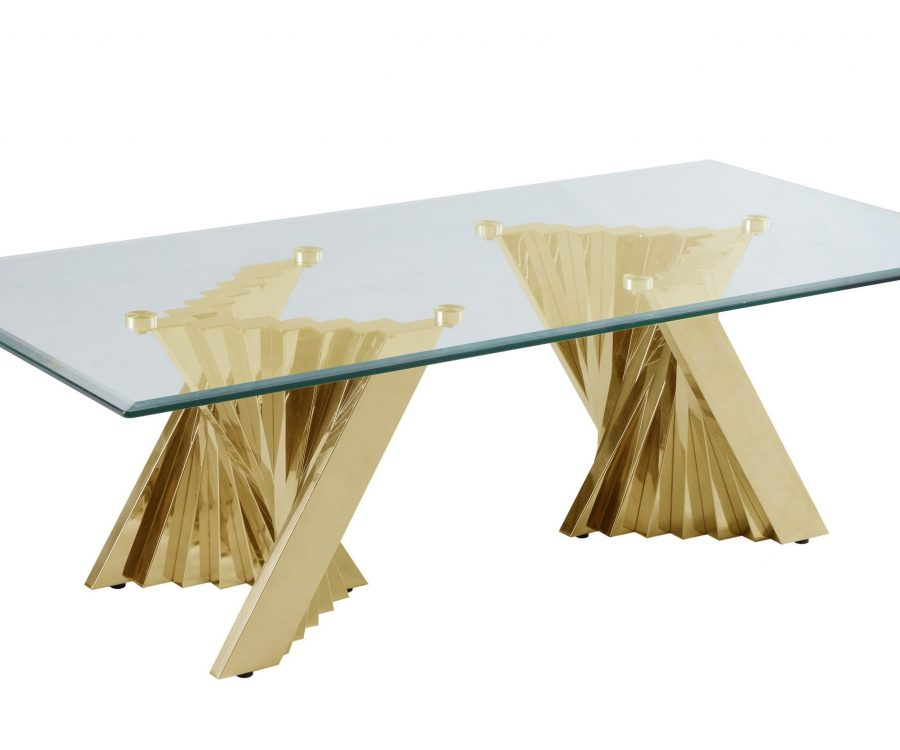 Glass Coffee Table with Stainless Steel Double Gold Base