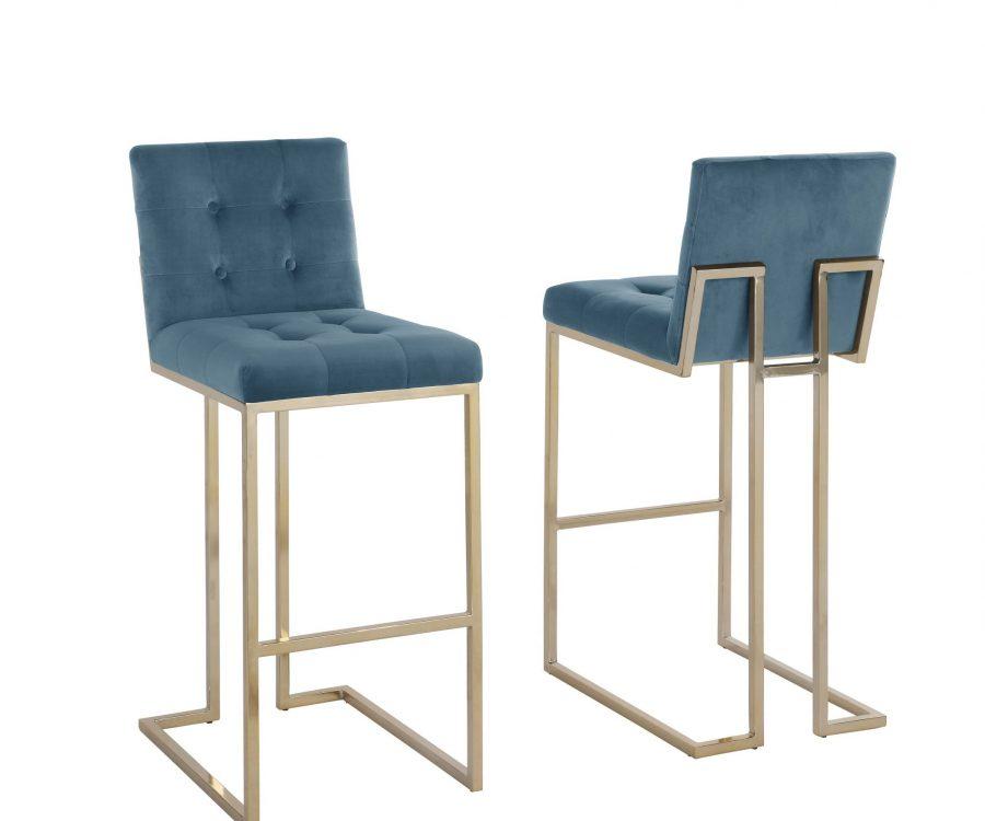 """27"""" Tufted Velvet Upholstered Bar Stool in Teal Blue (Set of 2)"""