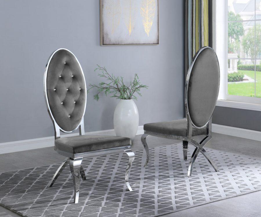 Dark Grey Velvet Side Chair **Set of 2**