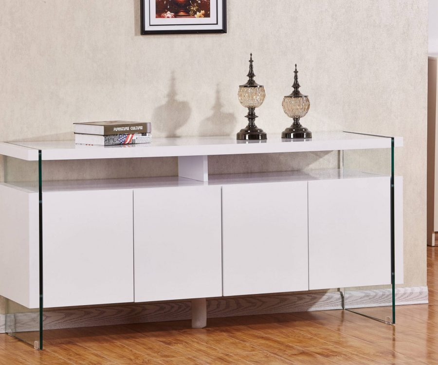 4 Door Server with Glass Side Panels and 8 Compartments. 2 Colors to Choose: High Gloss White or High Gloss Dark grey