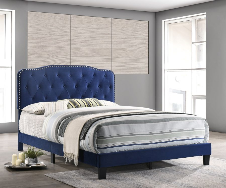 Navy Blue Velvet Uph. Panel Bed with Silver Nailhead - Twin