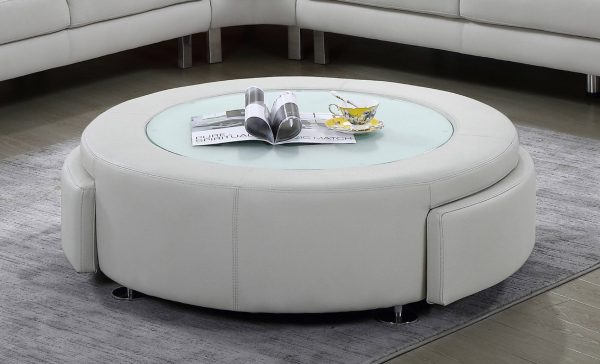 Leath-aire coffee table with two drawers and three colors to Choose: orange