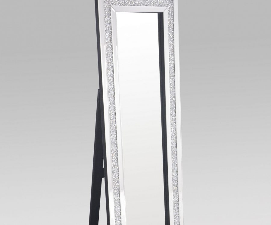Floor Mirror  with Crystal Border in the Frame