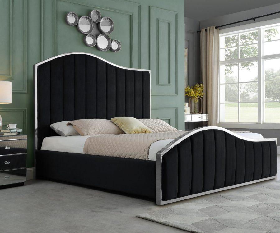 Black Pleated Velvet Platform Bed