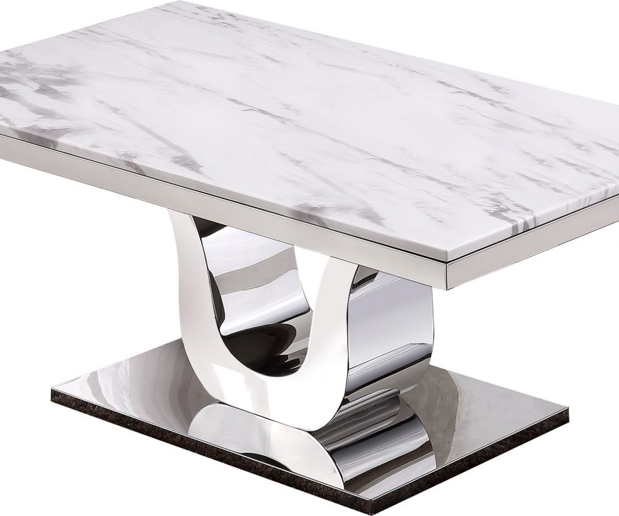 Marble Top Coffee Table with Stainless Steel Base