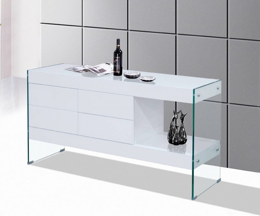 4 Drawer Cabinet with Side Shelf and Glass Side Panels|