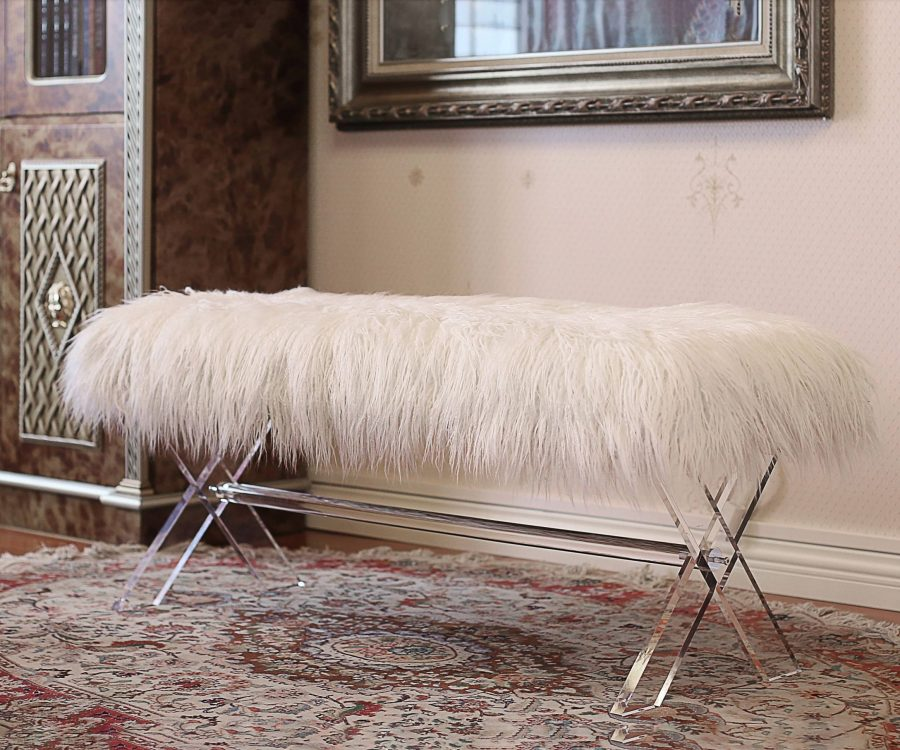 Fur bench/Ottoman with Acrylic Legs.