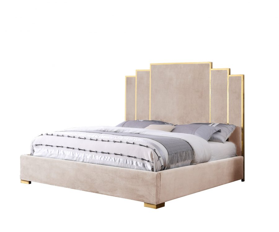 Beige Velvet Queen Bed w/ Stainless Steel Legs and Accents