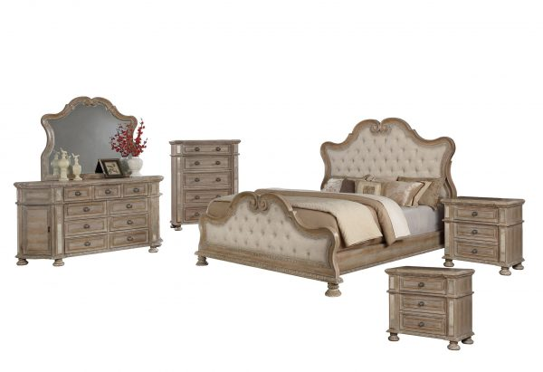 6PC Bedroom Set: 1 Panel Bed with Tufted Buttons