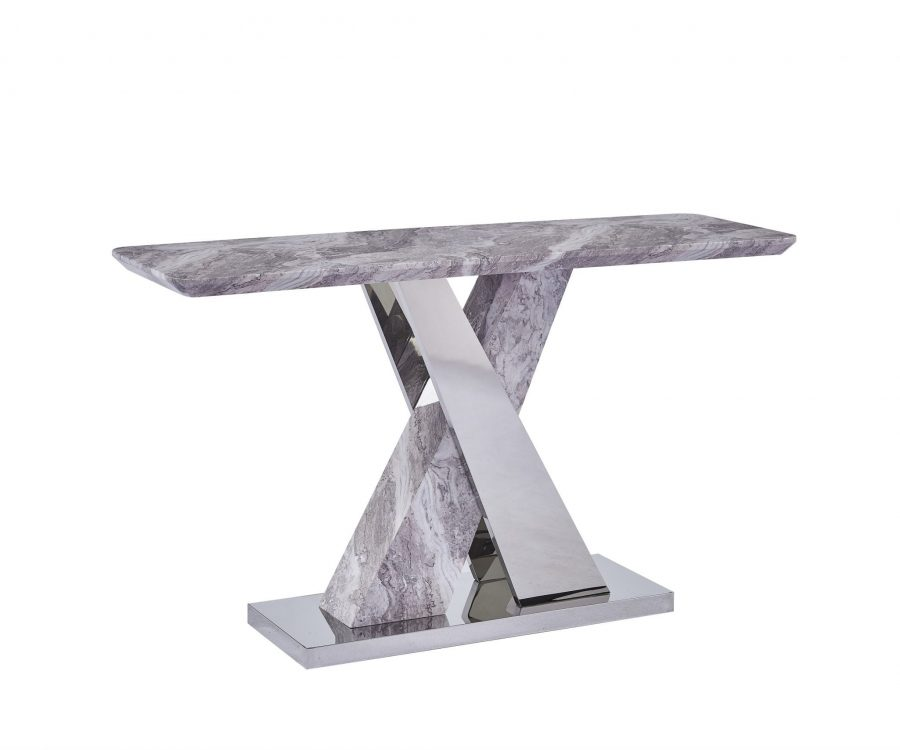 White Faux Marble Console Table w/Stainless Steel X-Base