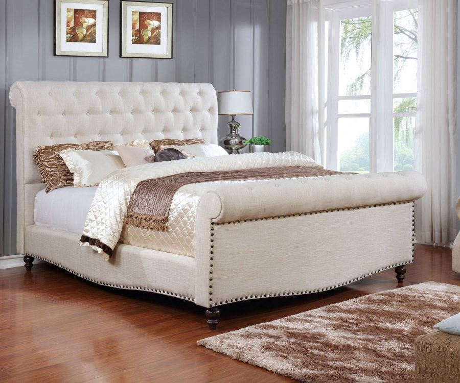 Sleigh Panel Bed with Tufted Buttons and Nailhead Trim. 2 Colors to Choose: Beige or grey.|