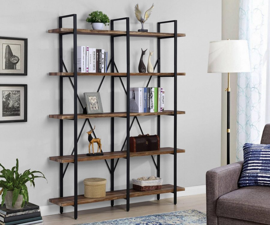 Wooden 5 Tier Bookcase with Metal Frame||