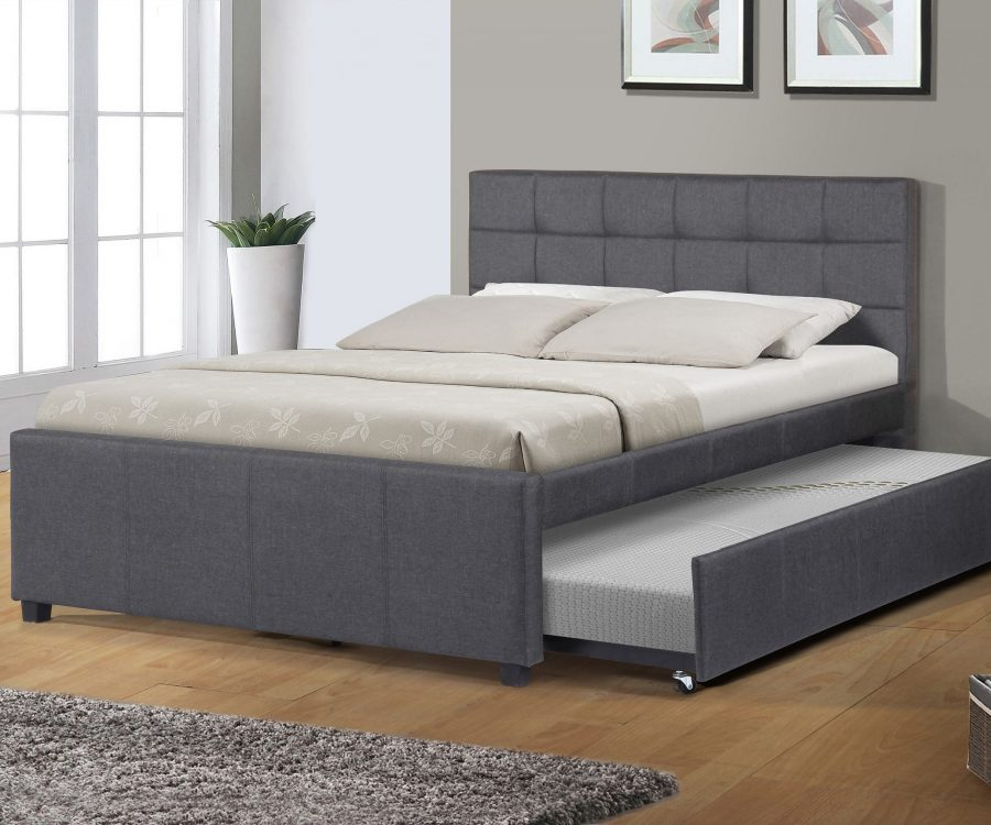 Full Bed With Twin Trundle in grey linen fabric