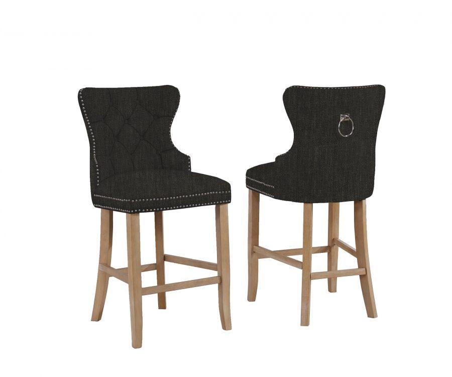 """24"""" Tufted Linen Upholstered Bar Stool in Black"""