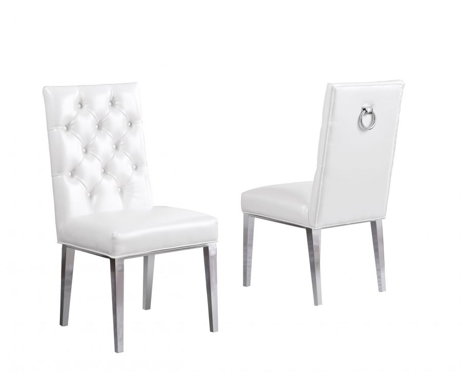 White Faux Leather Tufted Ring-Back Chair with Chrome Legs - Set of 2 