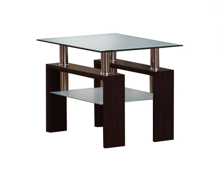End Table with Glass Top and Shelf in Espresso Finish
