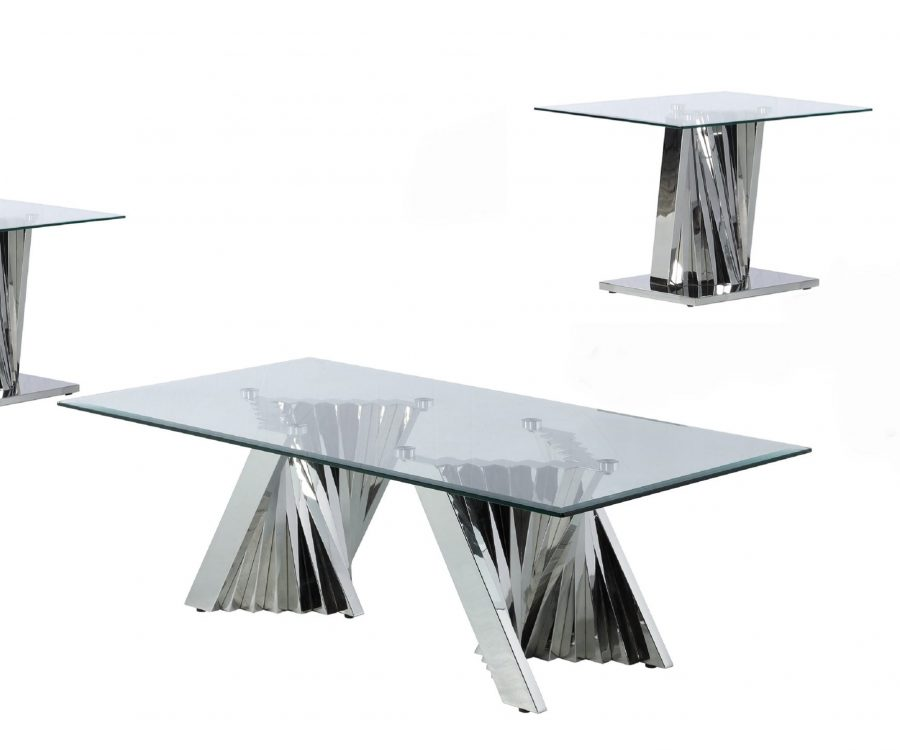 Glass Coffee Table Sets: Coffee Table and 2 End Tables with Stainless Steel Base