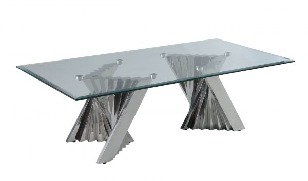 Glass Coffee Table with Stainless Steel Double Base 