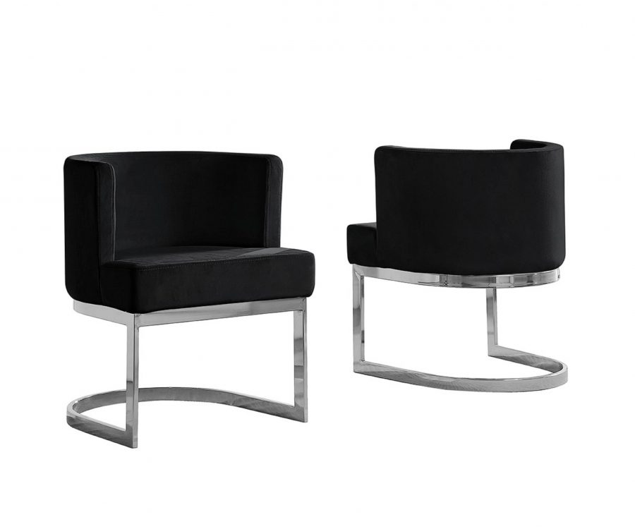 Black Velvet Side Chair with Silver