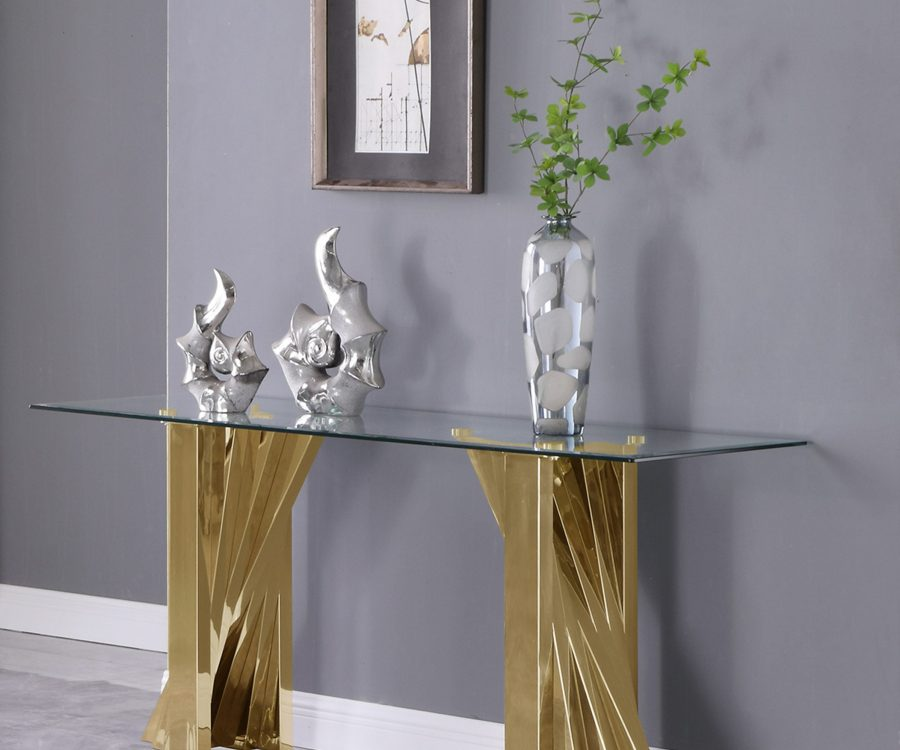 Glass Console Table with Stainless Steel Double Gold Base