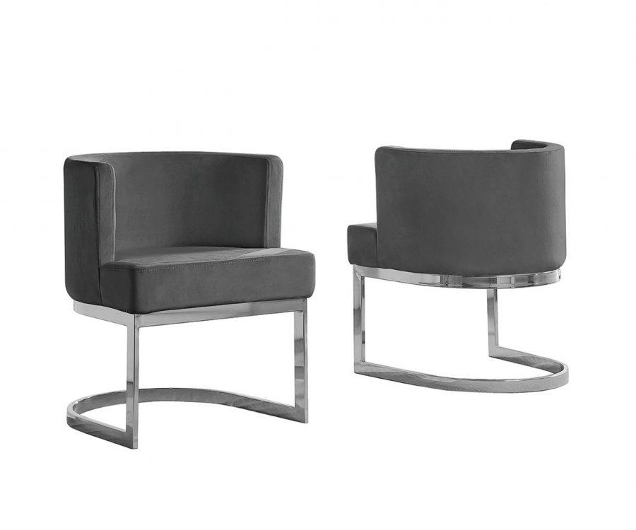 Dark Grey Velvet Side Chair with Silver
