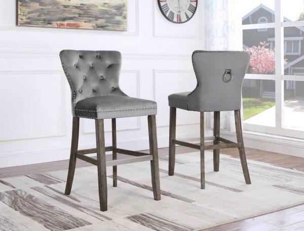 """24"""" Tufted Velvet Upholstered Bar stool in Weathered Grey"""