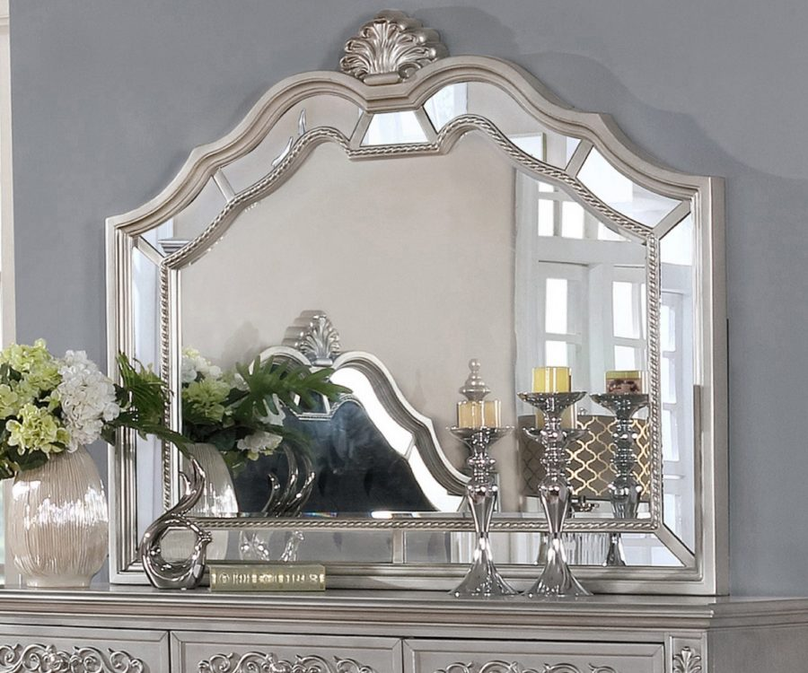 ||Dresser Mirror Set with 9 Drawers and Mirror with Reflective Panel Border|