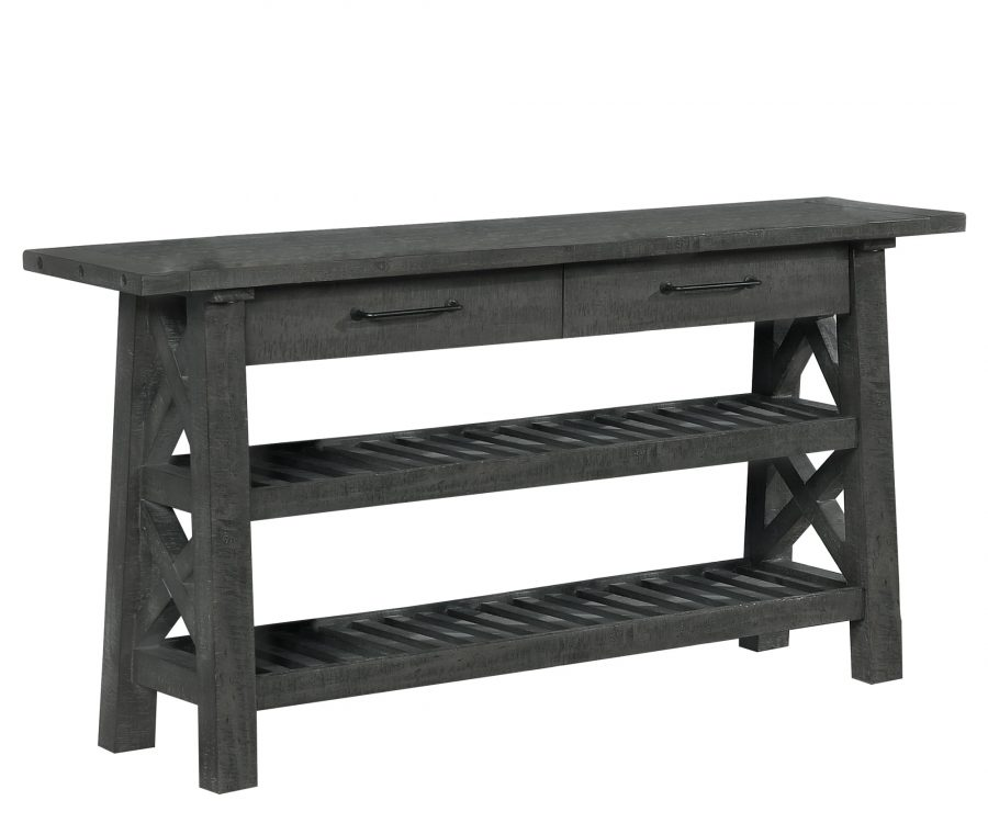 Console Table with Drawer and Shelf in grey Wood Finish