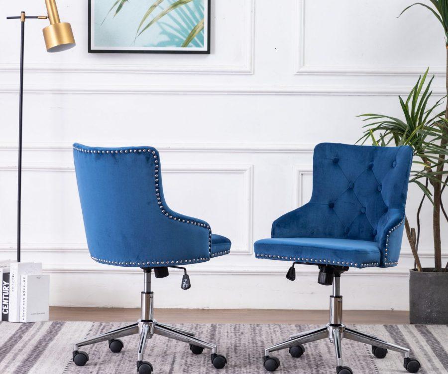 Tufted Velvet Upholstered Adjustable Side Chair in Navy Blue - Single Only