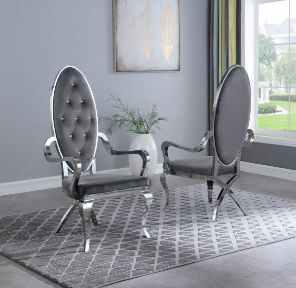 Dark Grey Velvet Arm Chair **Set of 2**