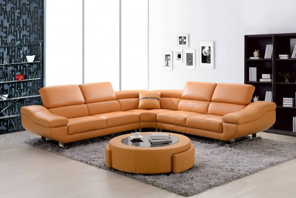 3 PC bonded leather sectional with coffee table with two drawers and three colors to Choose: orange