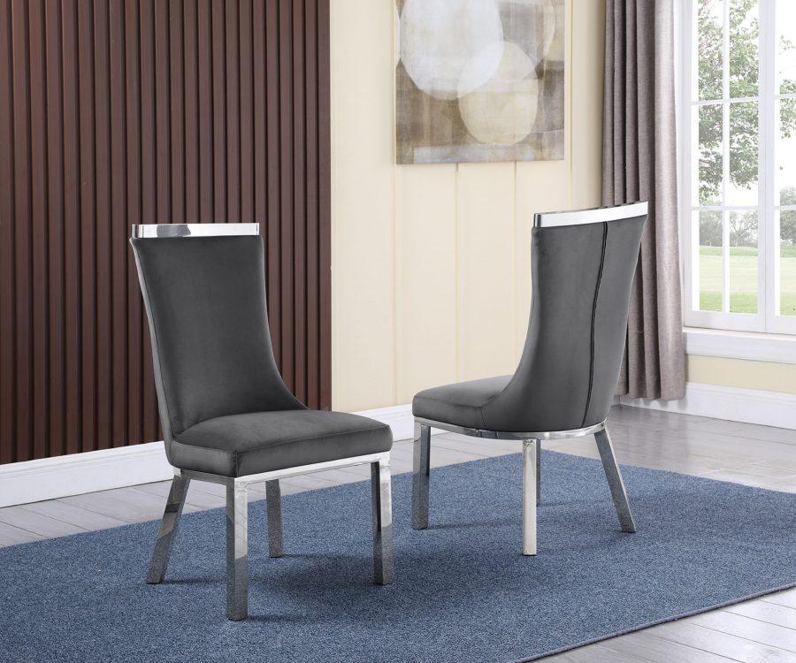 6 Dark Grey Velvet Chairs
