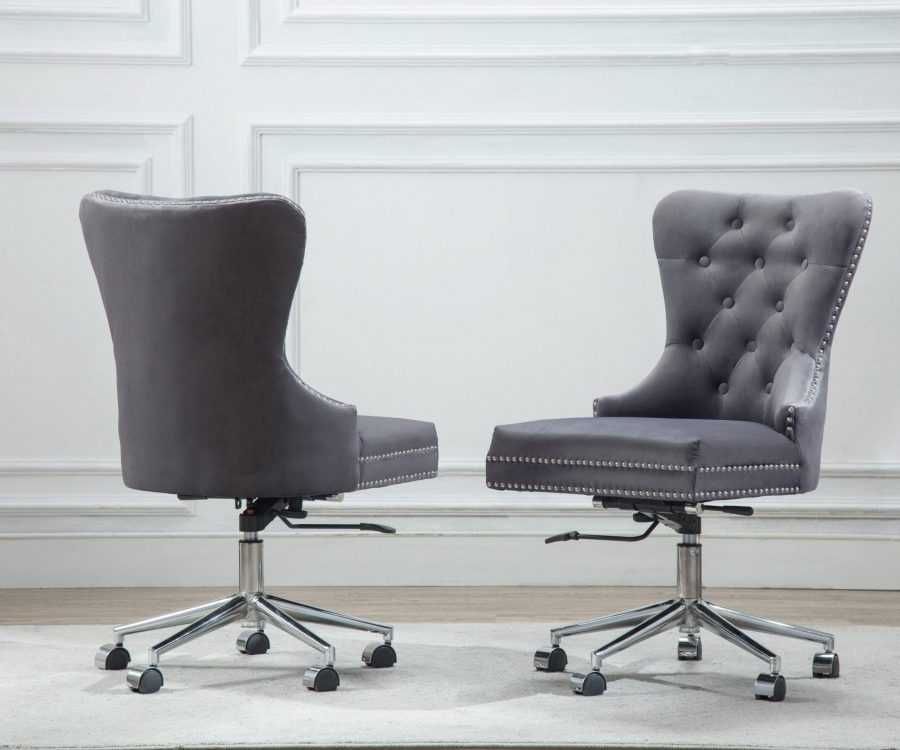 Adjustable and Mobile Office Chair with Tufted Buttons and Nailhead Trim (Available in grey