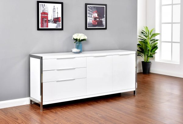 Cabinet Lined with Stainless Steel Frame. 2 Colors to Choose: High Gloss White or High Gloss Dark grey