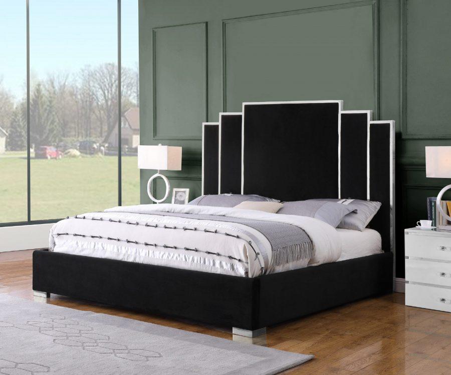 Black Velvet Uph. Platform Bed